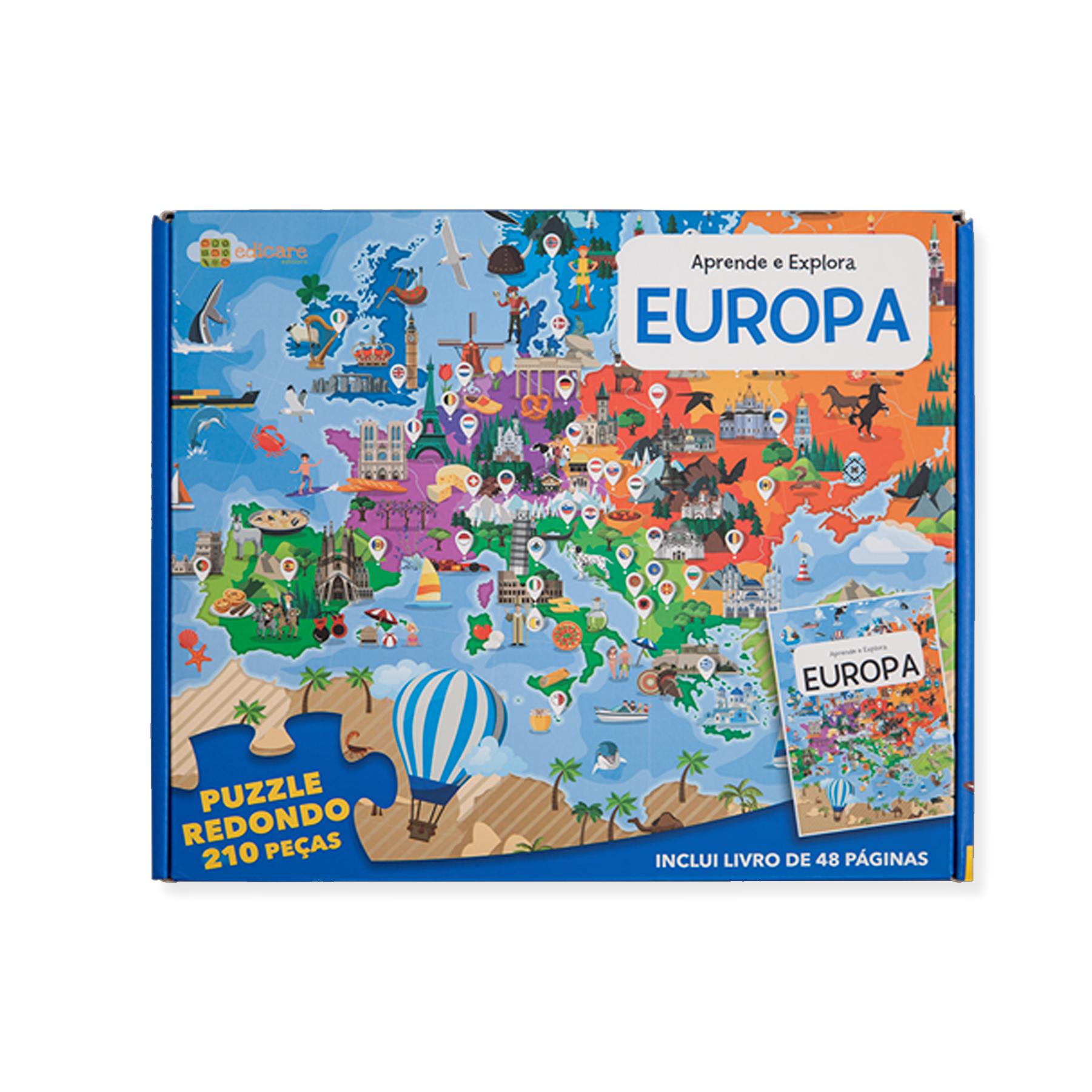 Aprende e Explora — Europa (Puzzle 210 peças + Livro)