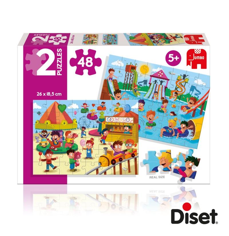 """2 Puzzles 48 peças """"Parque Aquático e Parque de Diversões"""""""