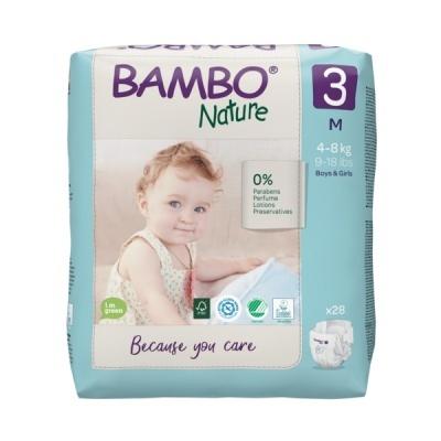Fraldas Descartáveis Bambo Nature Tam. 3 (4-8 kg) - pack 28 fraldas