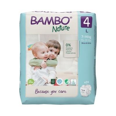 Fraldas Descartáveis Bambo Nature Tam. 4 (7-14 kg) - pack 24 fraldas
