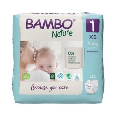 Fraldas Descartáveis Bambo Nature Tam. 1 (2-4 kg) - pack 22 fraldas