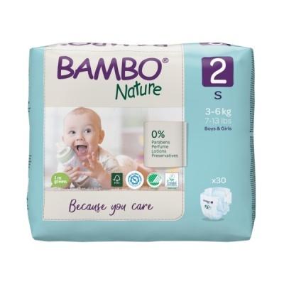 Fraldas Descartáveis Bambo Nature Tam. 2 (3-6 kg) - pack 30 fraldas