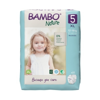 Fraldas Descartáveis Bambo Nature Tam. 5 (12-18 kg) - pack 22 fraldas