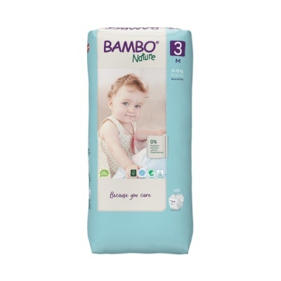 Fraldas Descartáveis Bambo Nature Tam. 3 (4-8 kg) - pack 52 fraldas