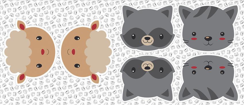Pillows - Ovelha, guaxinim e gato