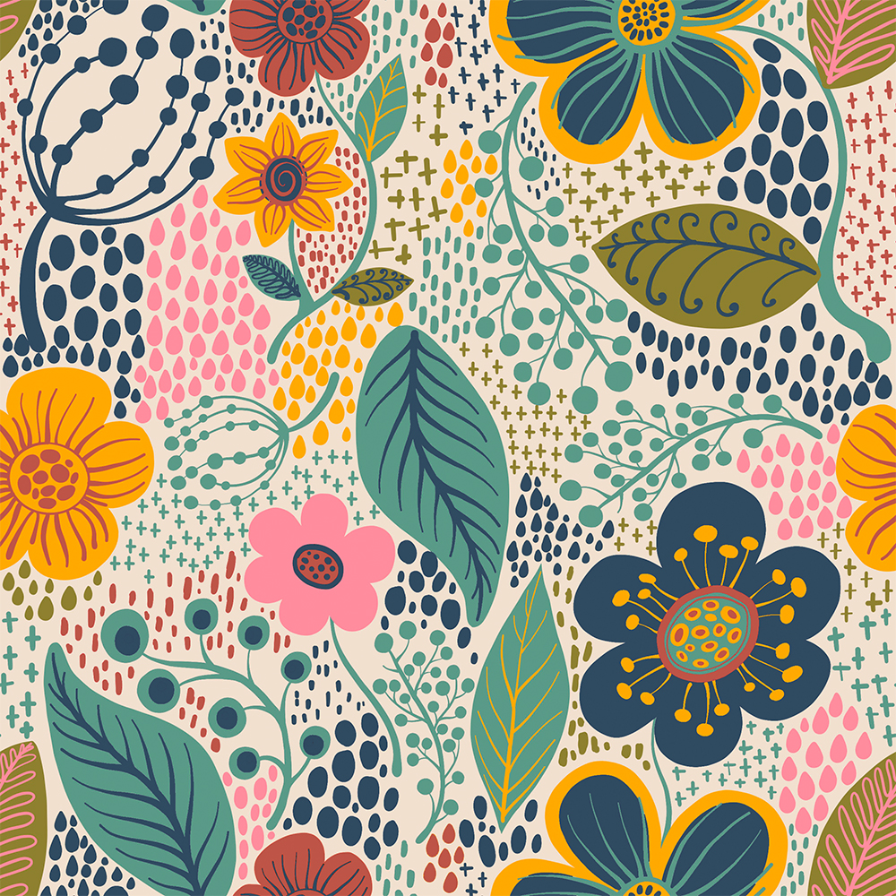 Contemporânea - Flores grandes fundo creme