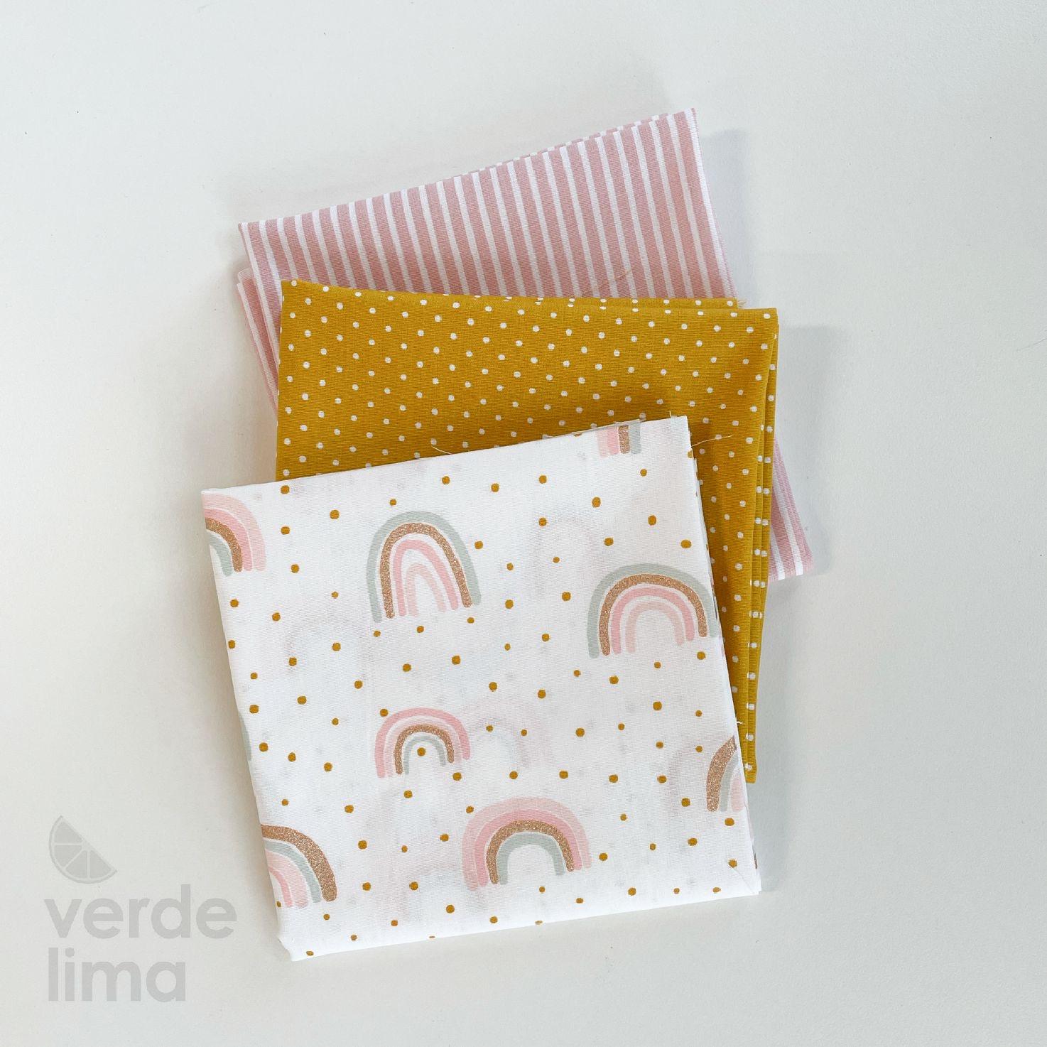 Pack de tecidos - Rainbow com rosa e amarelo