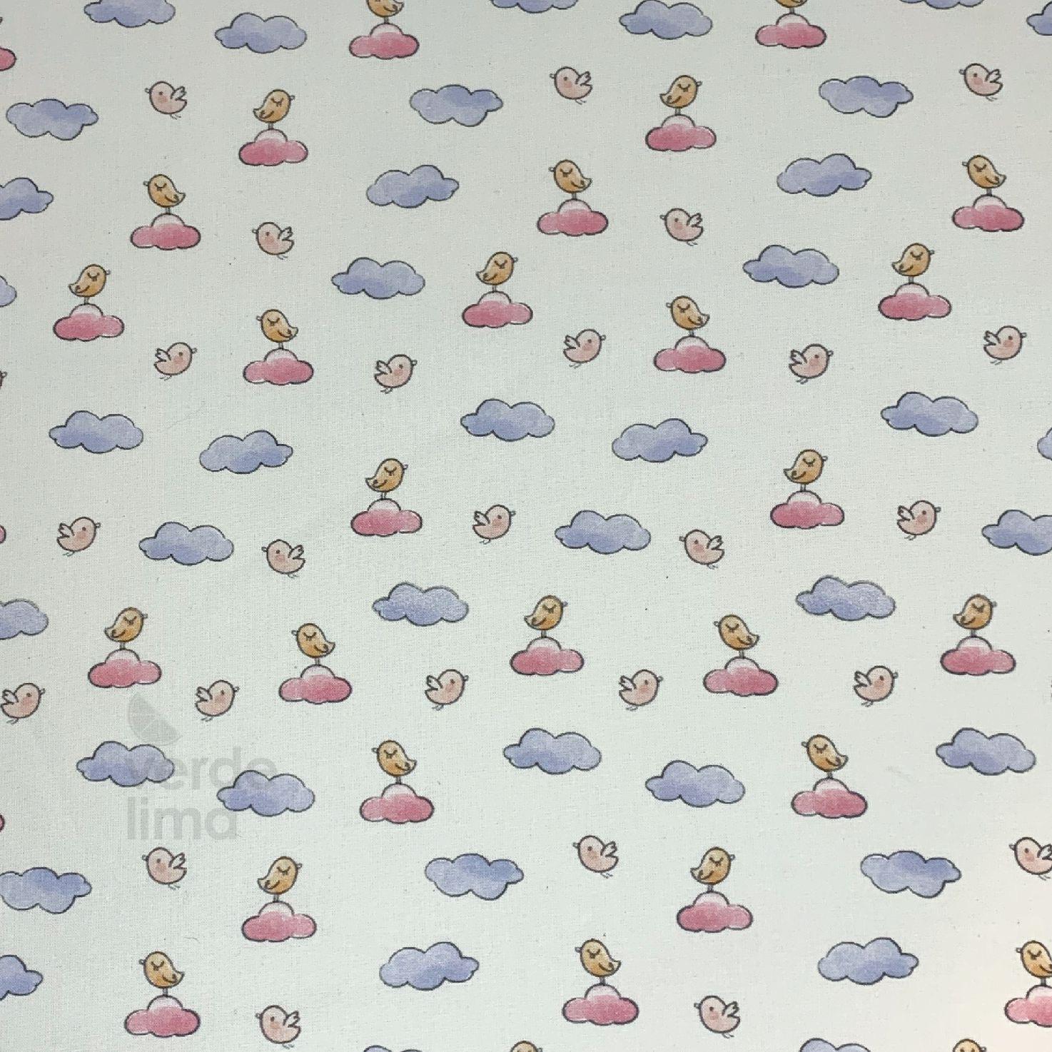 Ursinhos no avião - passarinhos na nuvem rosa