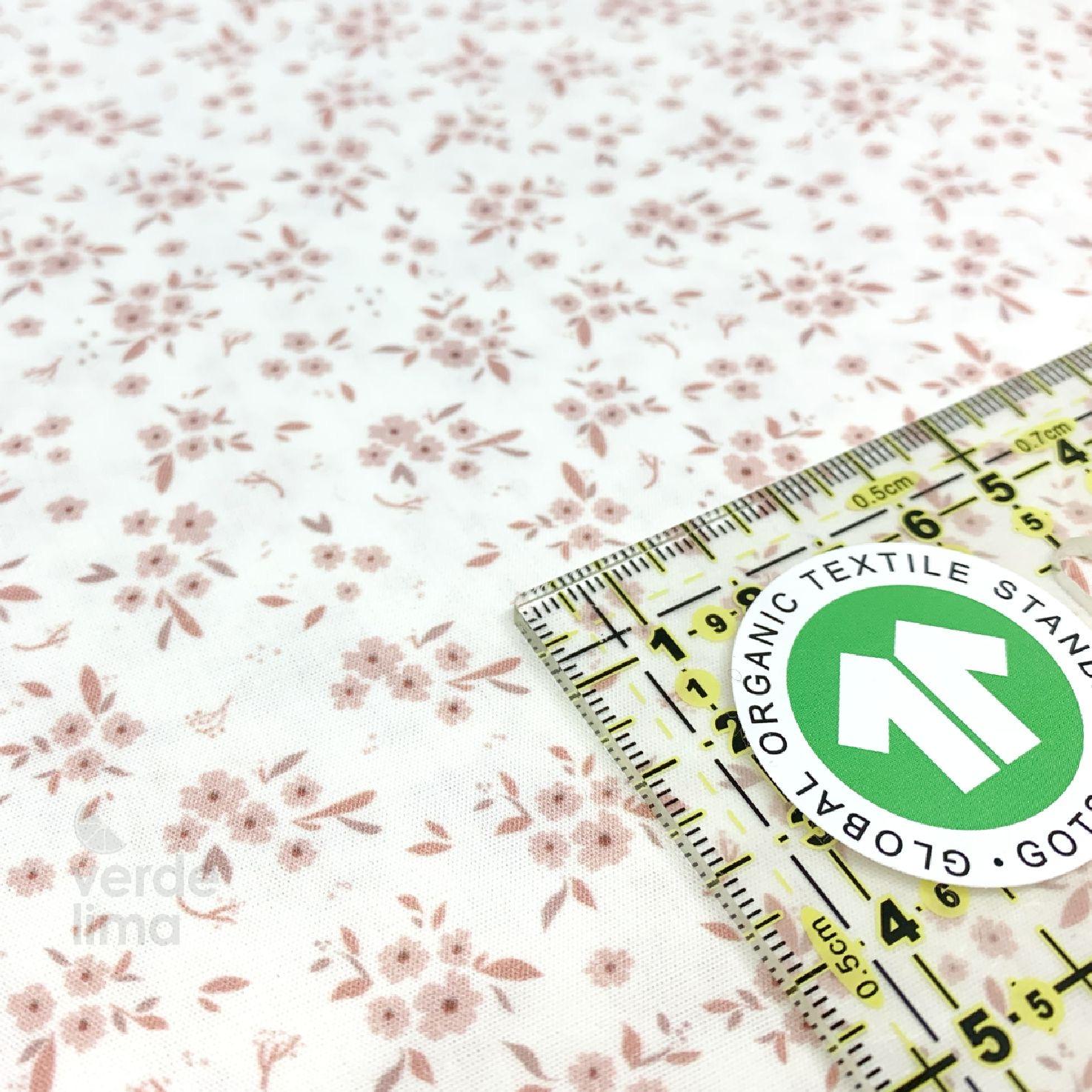 Algodão orgânico - Flores rosa