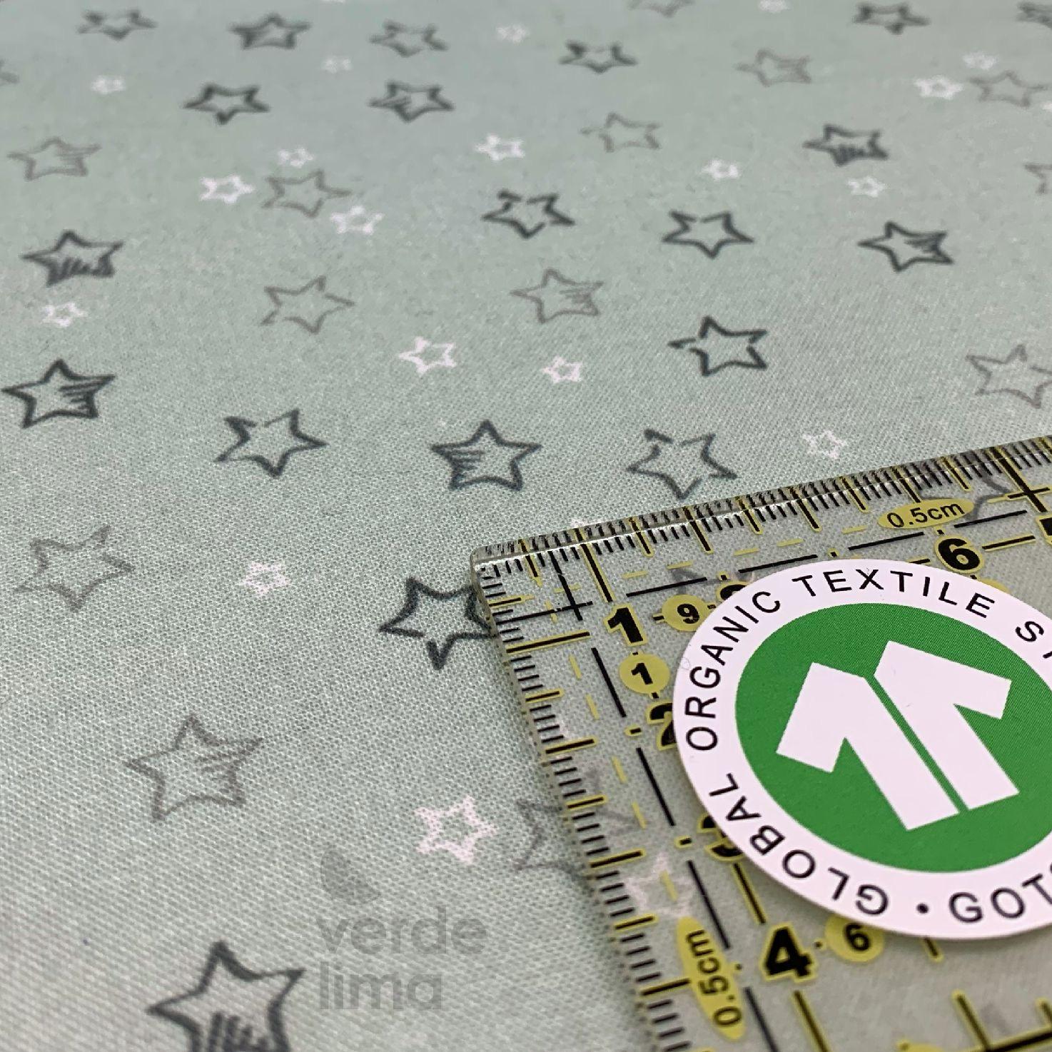 Algodão orgânico - Estrelas verde