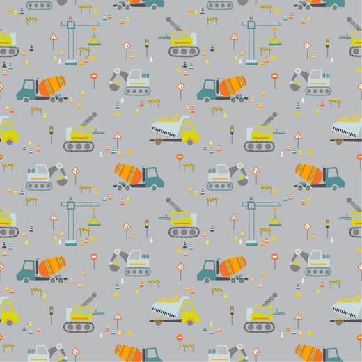 Construction Vehicles - Cinzento (plastificado)