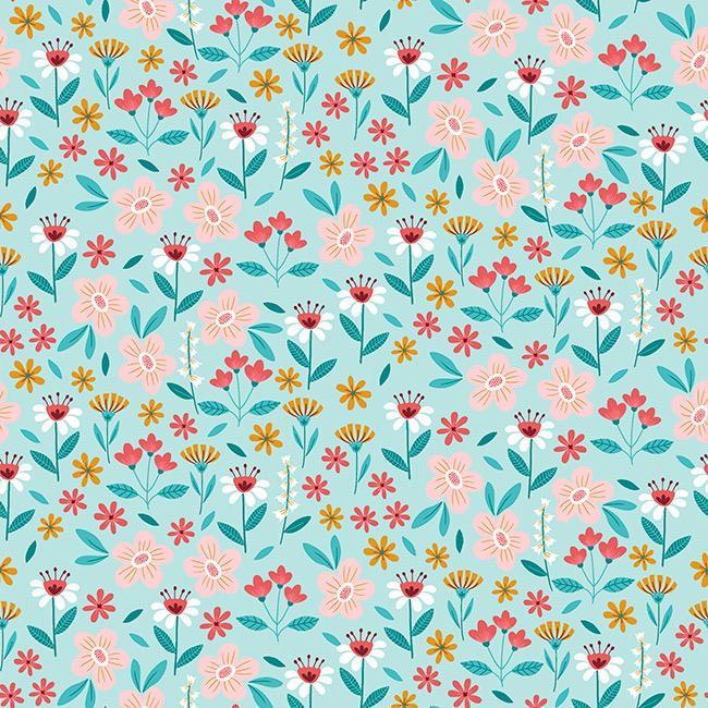Flowers Buzz - Azul Claro