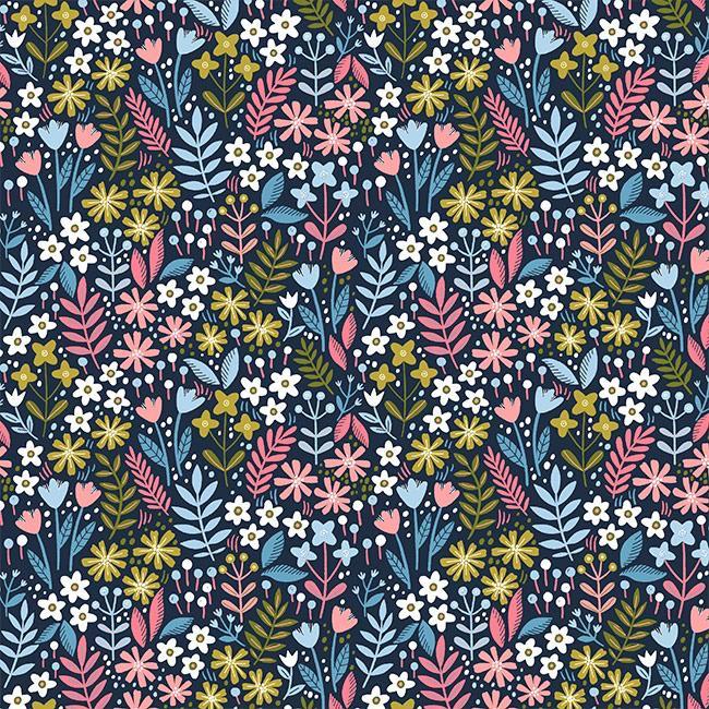 Flowers Field - Azul Marinho