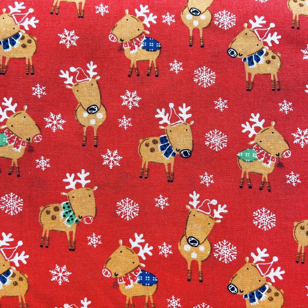 Santa Reindeer- Reindeer on red