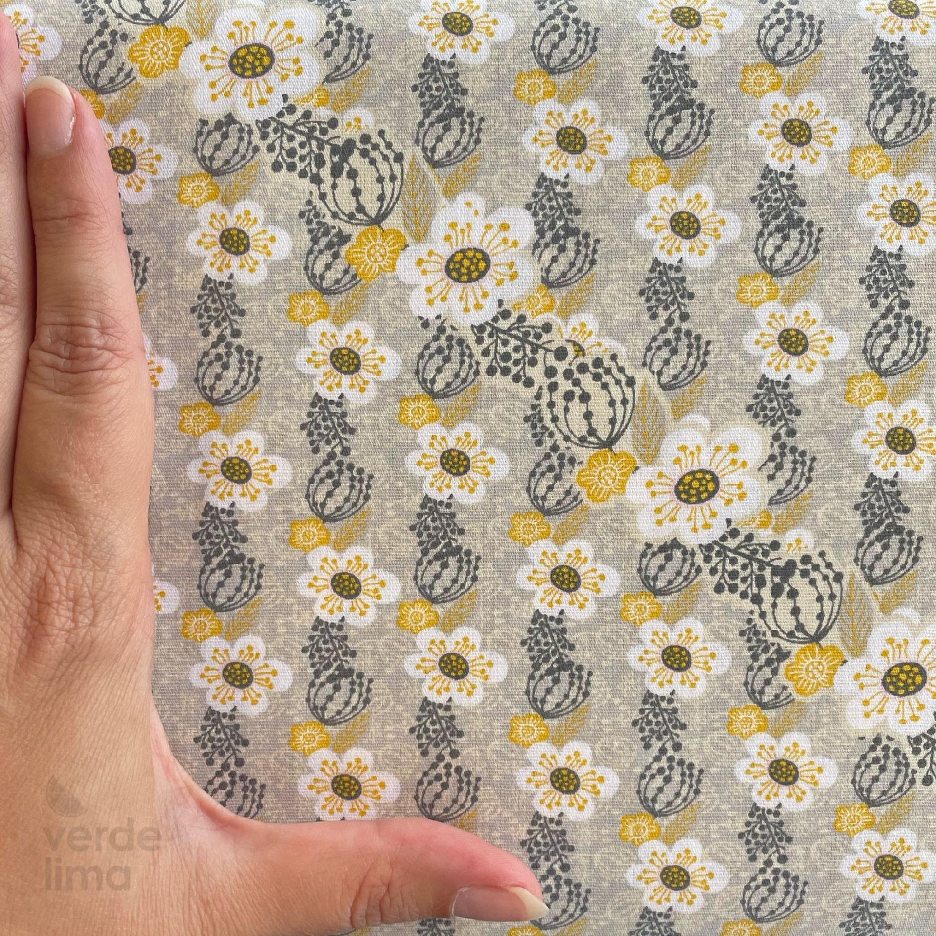 Nova Contemporânea - flores pequenas fundo cinzento