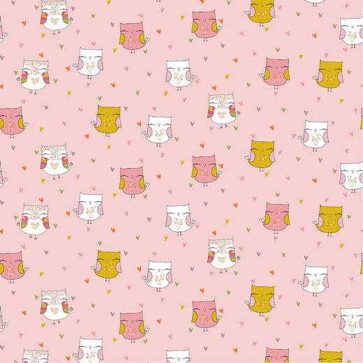 Lovely Owls - fundo rosa (com Glitter)