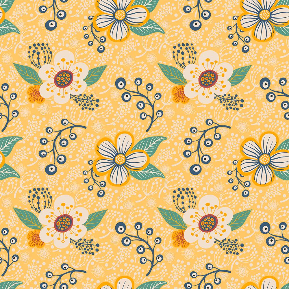 Contemporânea - Flores médias amarelo