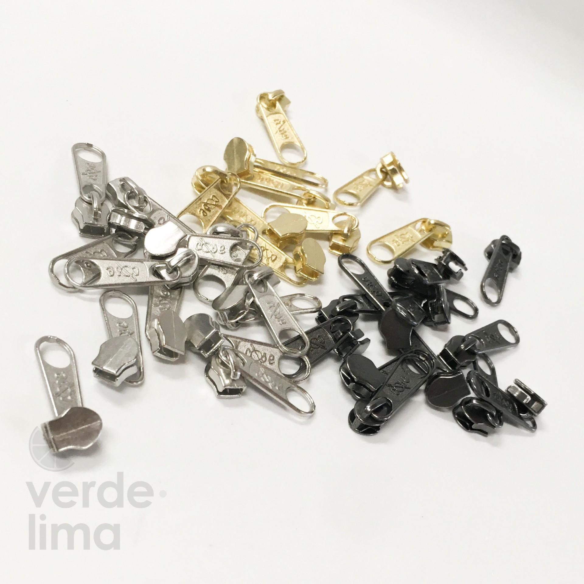 Cursores de fecho zipper malha 3 metalizados