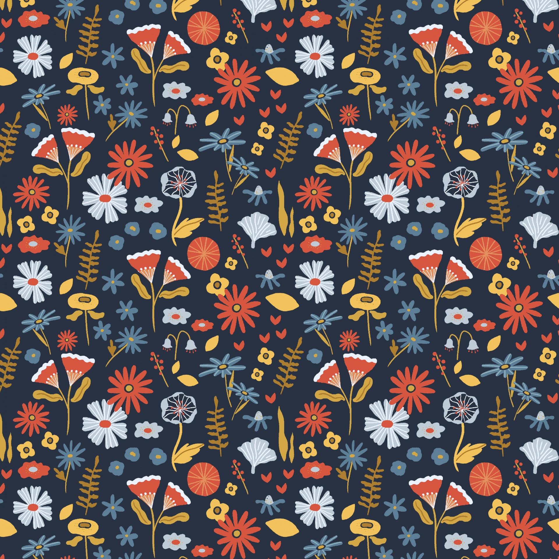 Algodão orgânico - Lovely Flower Field azul marinho