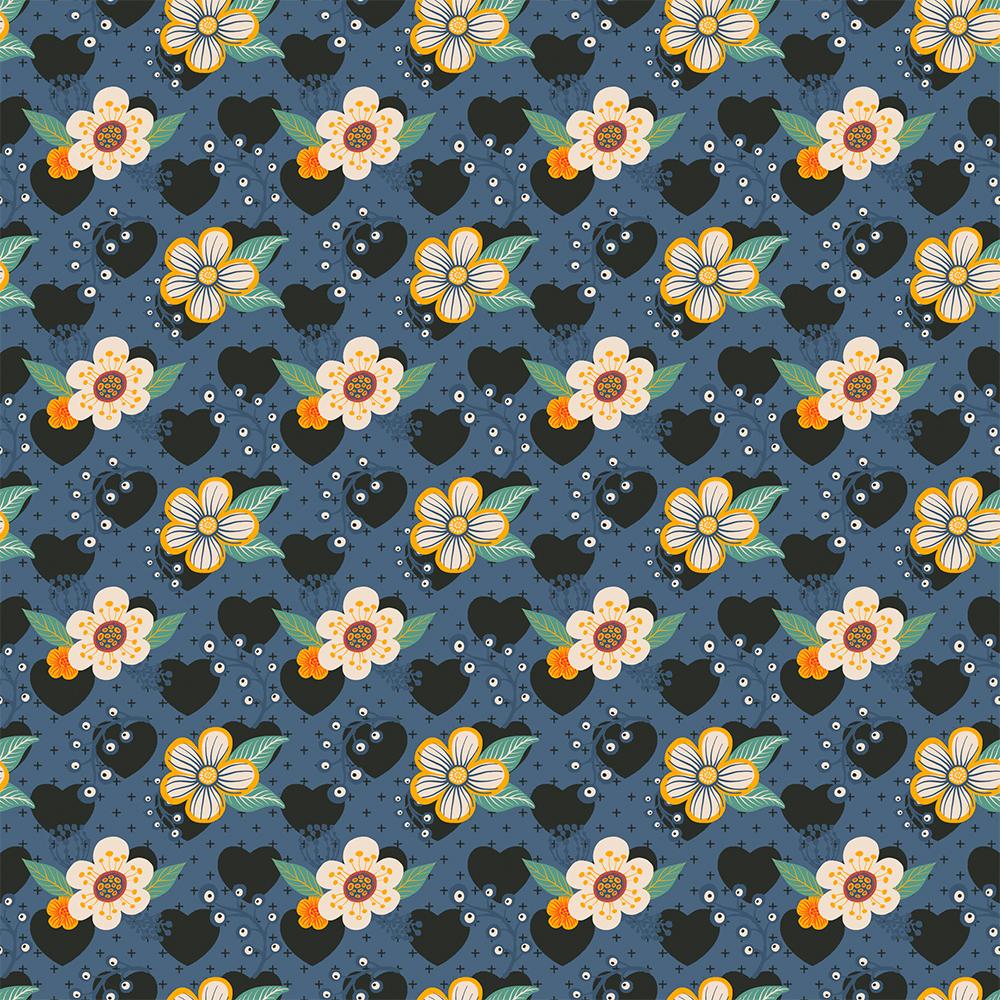 Contemporânea - Flores médias e corações marinho