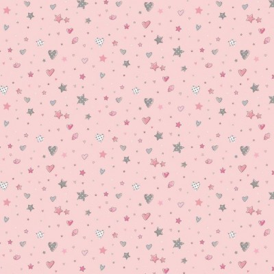 Hearts and Stars  - Fundo rosa