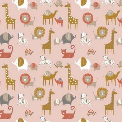 Algodão orgânico - Safari friends pink