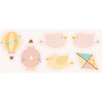 Pillows - Balões, pássaros e papagaio de papel em rosa
