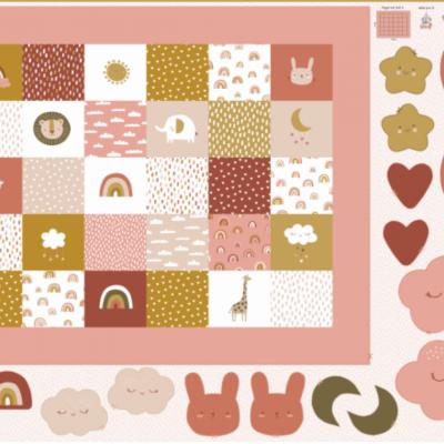 Painel manta de bebé, almofadas e mobile - tons rosa