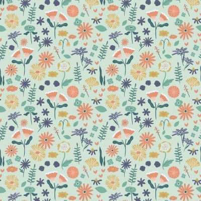 Algodão orgânico - Lovely Flower Field menta