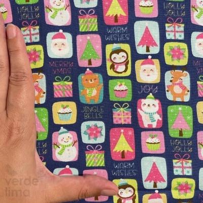 Candy Christmas - Quadrados fundo marinho