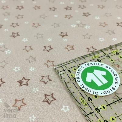 Algodão orgânico - Estrelas rosa
