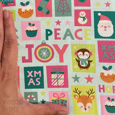 Candy Christmas - Quadrados fundo aqua