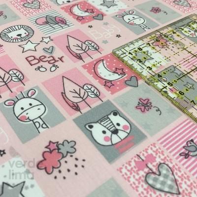 Sweet animals  - Quadrados fundo Rosa