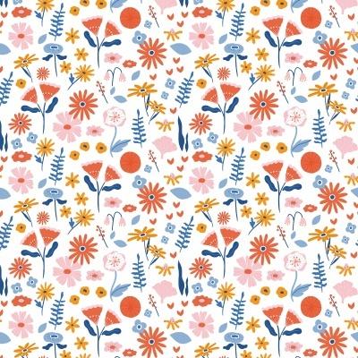 Algodão orgânico - Lovely Flower Field branco