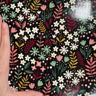Flowers Field Preto (plastificado)