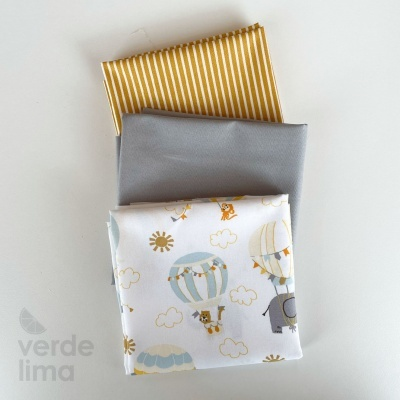 Pack de tecidos - Fly with me com riscas mostarda e liso cinzento