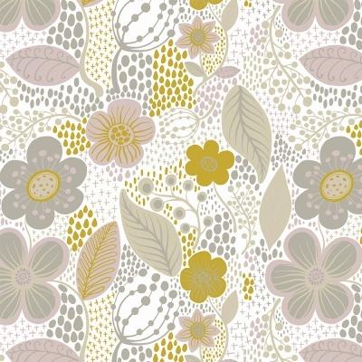Nova Contemporânea - Flores grandes fundo branco