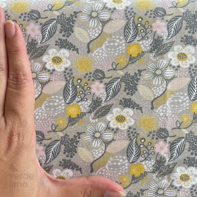 Nova Contemporânea - Flores médias fundo cinzento
