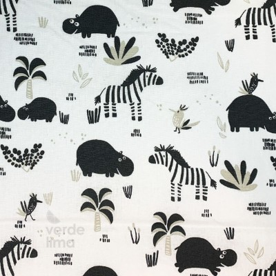 Black and white jungle - Hipopótamos e Zebras (plastificado)