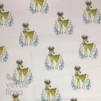 Woodland Deer - Fundo Rosa