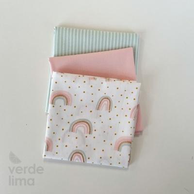 Pack de tecidos - Rainbow com rosa e menta