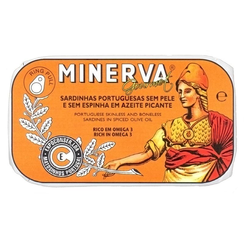 Minerva Sardinhas Sem Pele e Sem Espinhas em Azeite Picante  Conservas