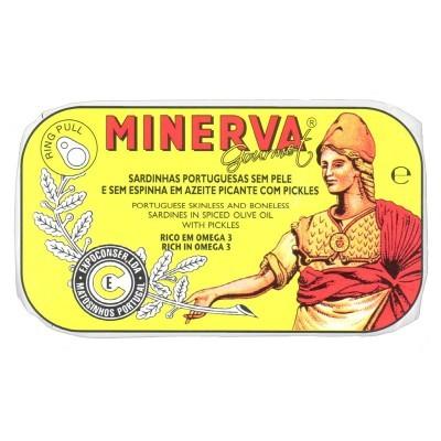 Minerva Sardinhas Sem Pele e Sem Espinhas em Azeite Picante com Pickles Conservas