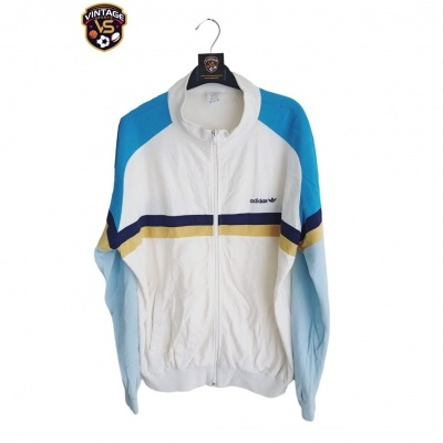 "Vintage Track Top Jacket Adidas White Blue (M) ""Good"""