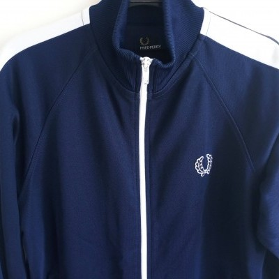 """Fred Perry Track Top Jacket Blue White (L Youths) """"Very Good"""""""