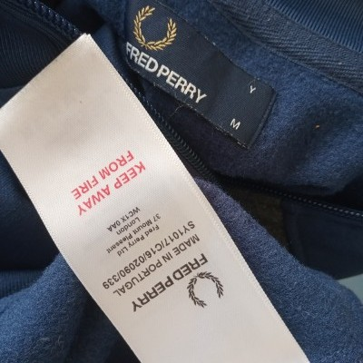 """Fred Perry Jacket Track Top Blue Grey (M Youths) """"Very Good"""""""