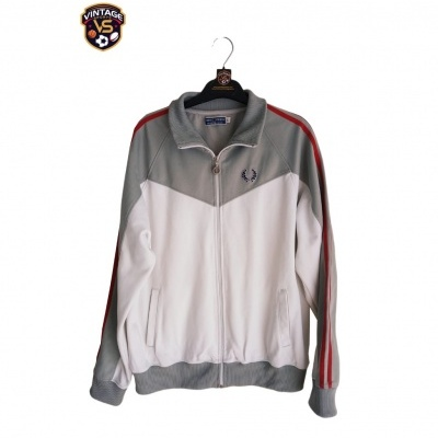 """Fred Perry Track Top Jacket White Grey Red (L) """"Good"""""""