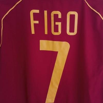 """Portugal Home Shirt 2002-2004 #7 Figo (M) """"Very Good"""""""