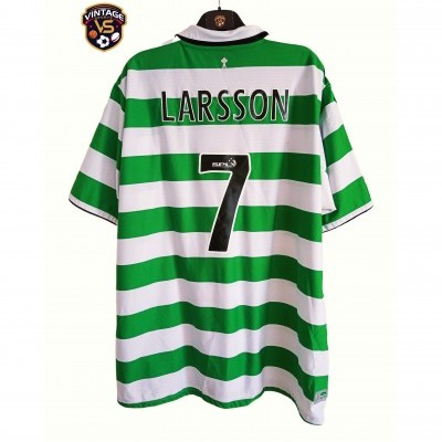 "Celtic Glasgow FC Home Shirt 2004-2005 #7 Larsson (XXL) ""Perfect"""