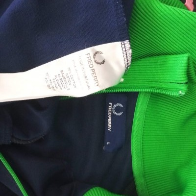 """Fred Perry Jacket Track Top Blue Pink Green (L) """"Very Good"""""""
